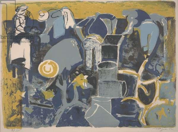 The Wine Harvest, 1952 (colour litho)