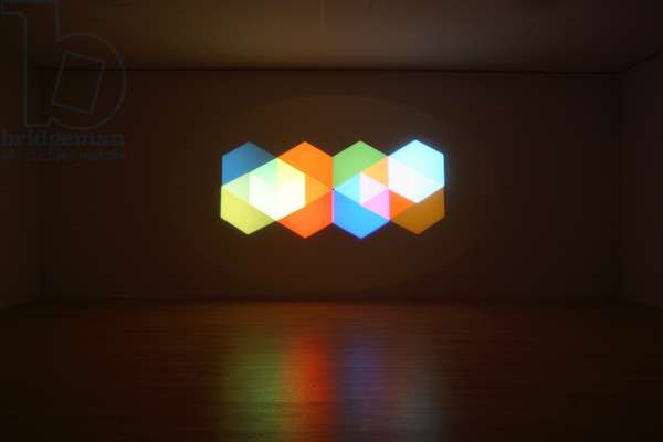 The outside of inside, 2008 (projectors, spotlights, color glass gels, stainless steel & control unit)