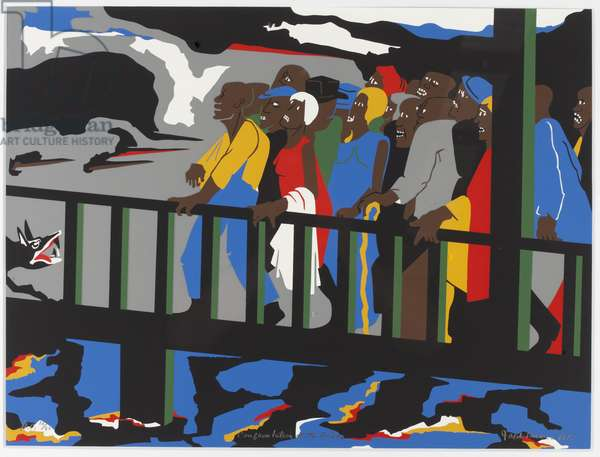 Confrontation at the Bridge, 1975 (screenprint)