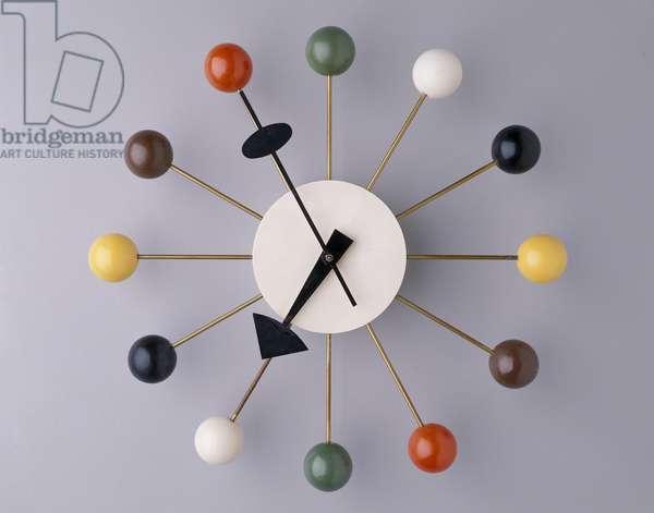 """""""Ball"""" wall clock, designed 1947 (birch, paint, steel & brass)"""