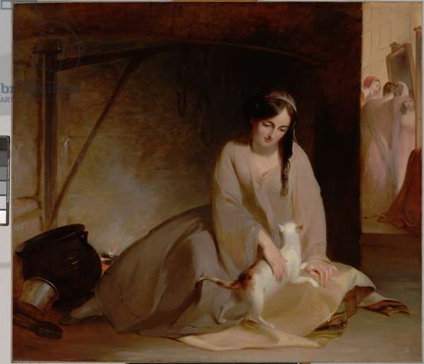 Cinderella at the Kitchen Fire, 1843 (oil on canvas)