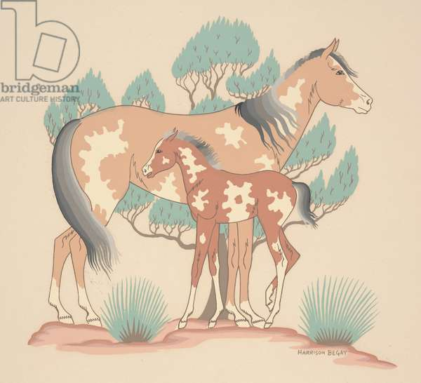 Horse and Colt, mid 20th century (silkscreen)