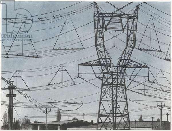 Pylons, Pleine de la Maule, 2007 (powdered pigment, charcoal, conté, and ink on paper)