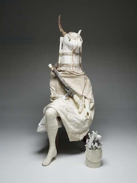 The Minotaur, 2008 (plaster, gauze, rope, fabric, chair, bucket, and paintbrushes)