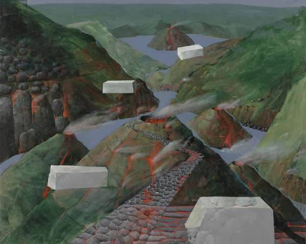 Valley of Monuments, 1990 (acrylic on canvas (on wood panel))