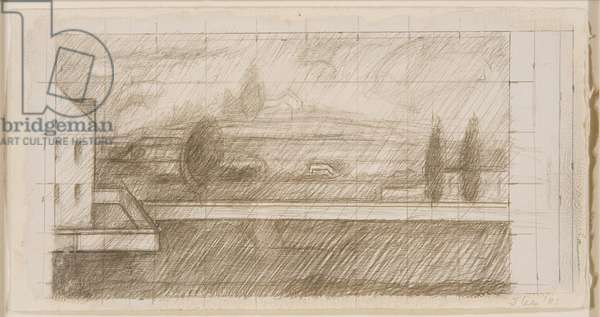 Study for a Landscape, 1981 (silverpoint, pencil, and opaque w/c on paper)