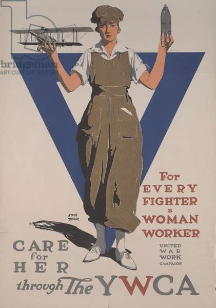 For Every Fighter a Woman Worker, Care for Her Through the YWCA, United War Work Campaign, 1918 (colour litho)