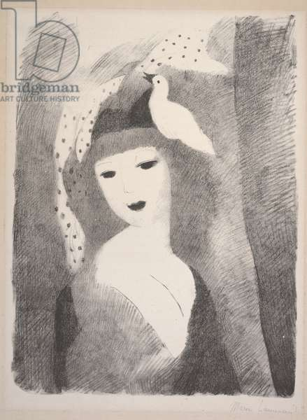 Girl with Bird, early to mid 20th century (litho)