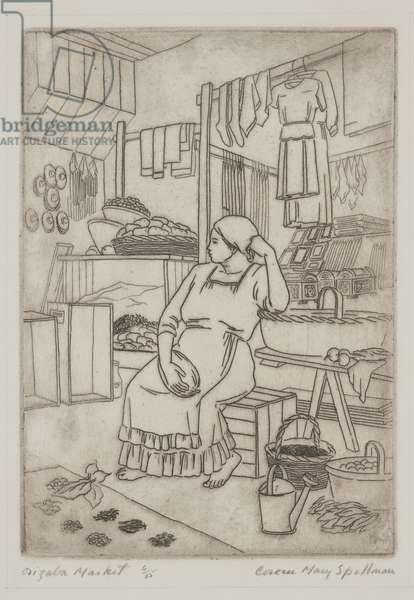 Orizaba Market, 1942 (etching)