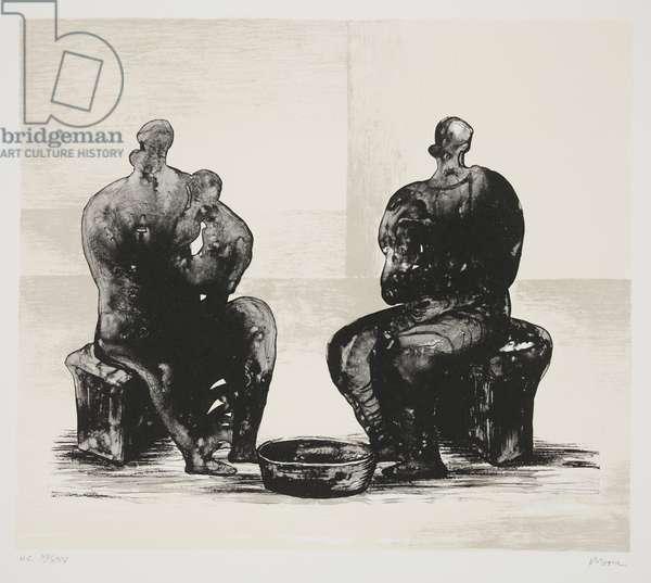 Two Women Bathing Child, 1973, published 1975 (litho)