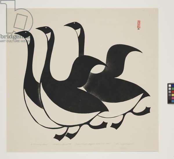 Three Canada Geese, 1960 (sealskin stencil print)