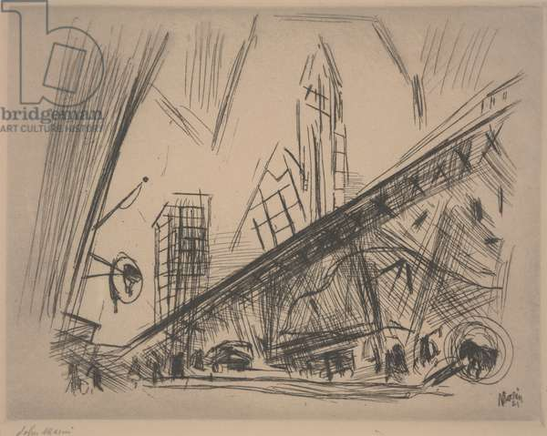 Downtown New York or Park Row, 1921 (drypoint)
