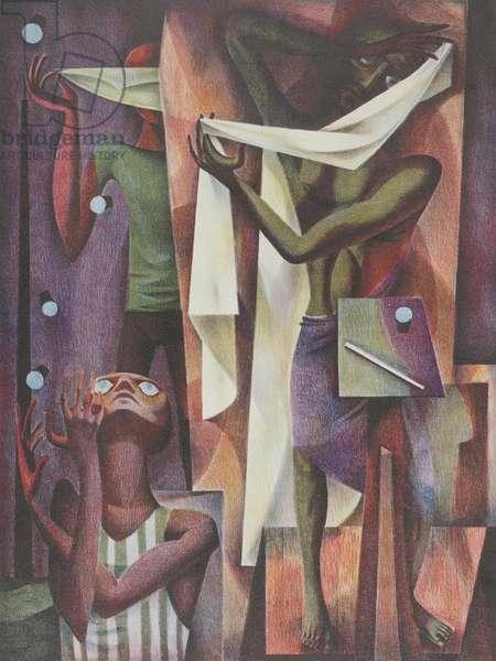 The Magicians, 1949 (colour litho)
