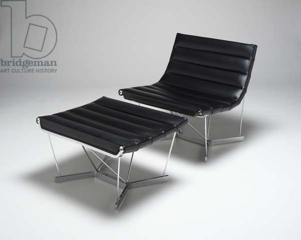 """""""Catenary Group"""" chair, designed 1963 (in production c.1963-1968) (chromium-plated steel with leather upholstery)"""