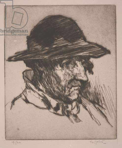 Head of a Breton Man in a Hat, early 20th century (drypoint)