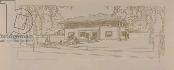 Villa for Mr. H. W. Winslow in River Forest, Illinois, Entrance Detail, 1910-1911 (lithograph printed with bronze powder)