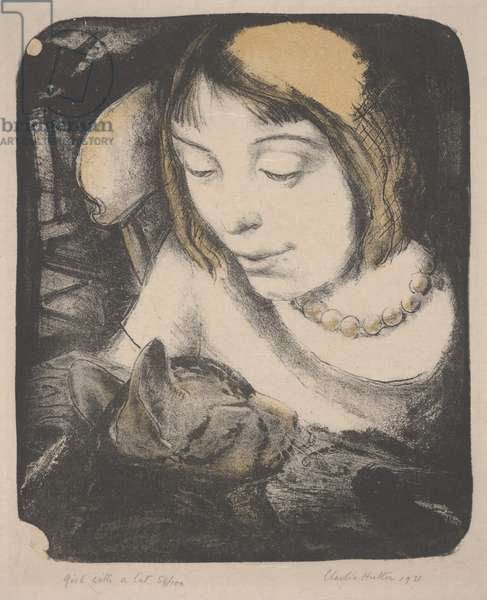 Girl with a Cat, 1931 (colour litho)