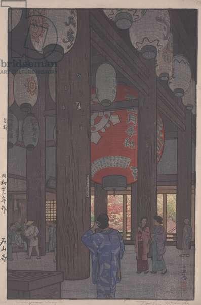 Ishiyama Temple (polychrome woodblock print)