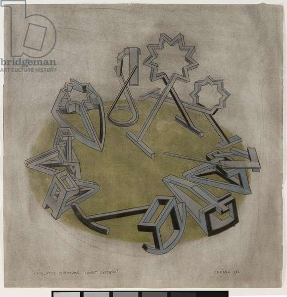 Catalytic Sculpture—-Court System, 1986 (graphite on paper)