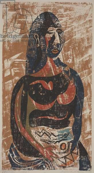 Pottery Maker, 1950 (colour woodcut)