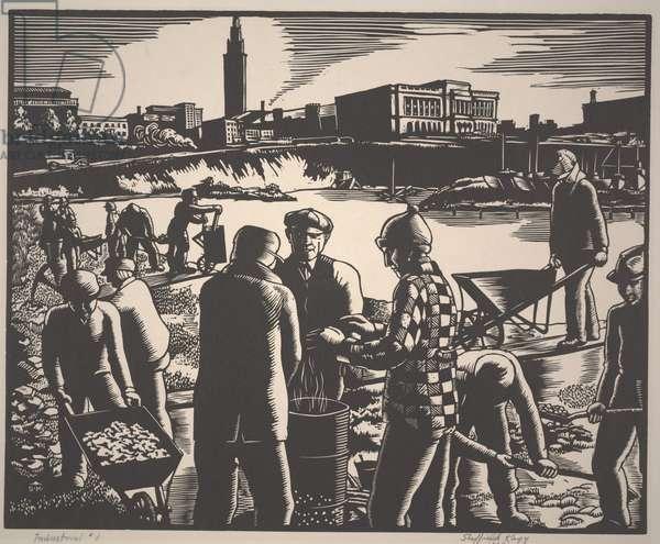 Industrial #1, 1934 (lino cut)