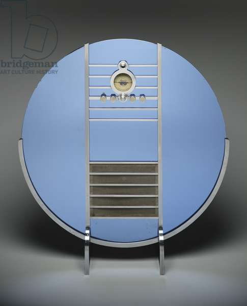 """Nocturne"" radio (Model 1186), designed c.1935 (mirrored cobalt glass, satin chrome steel, and wood)"