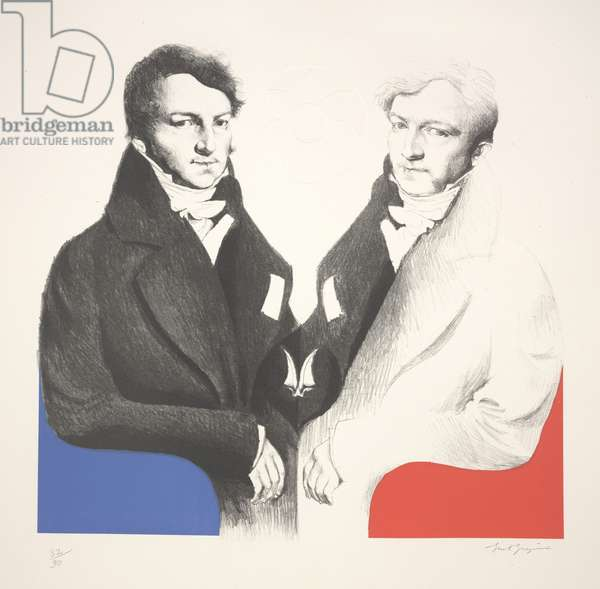 An Official Reflecting: Jacques Marquet (after Ingres), 1966 (litho & serigraph)