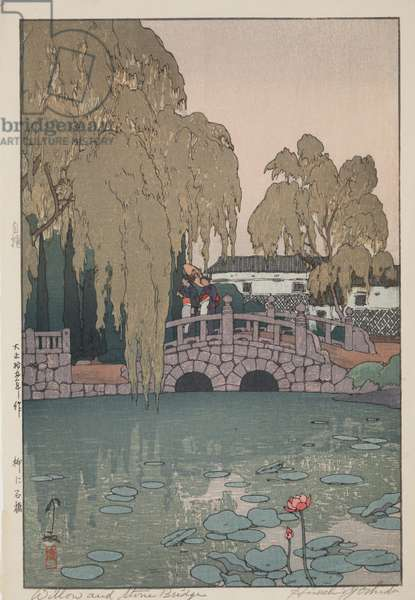Willow and Stone Bridge, 1926 (polychrome woodblock print)