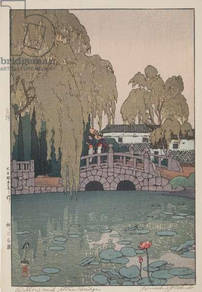 Willow and Stone Bridge, 1926 (polychrome woodblock print)