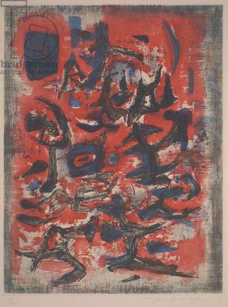 The Sign Trembles (Le Signe Remue), 1957 (engraving, etching & colour litho)