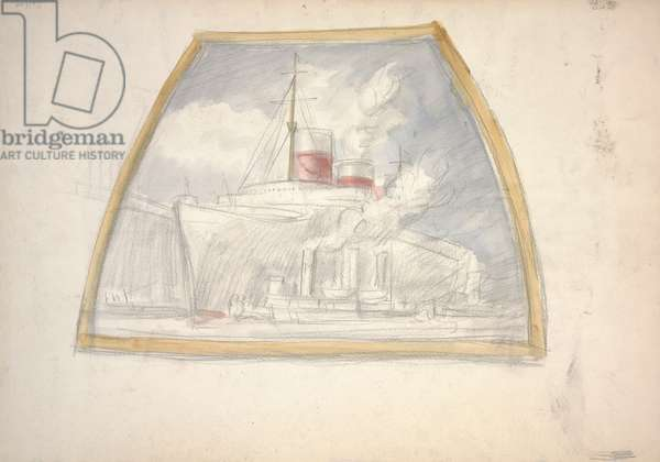 Untitled (tugs warping the Normadie into dock),  (watercolor and pencil on paper)