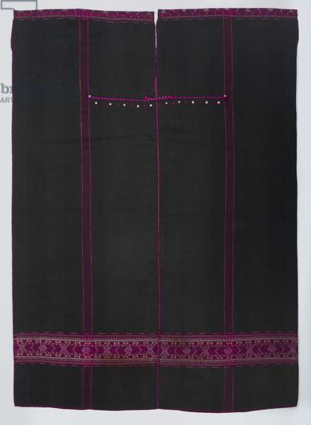 Tunic with bands of geometric motifs, c.1890-1930 (cotton and silk; warp-faced plain weave with warp stripes and supplementary-weft patterning)