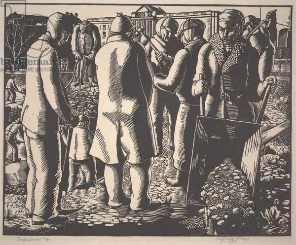 Industrial #2, 1934 (lino cut)