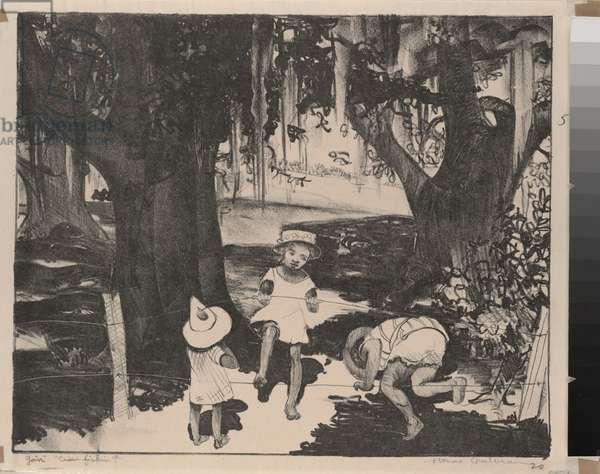 Goin' Craw Fishin', 1920 (lithograph)