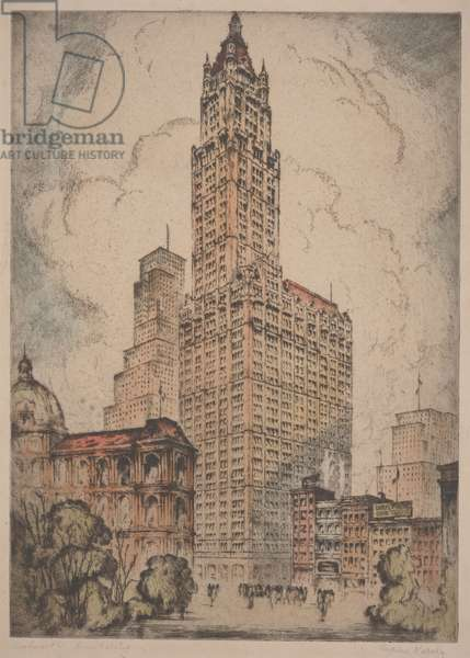 Woolworth Building, c.1915 (hand-coloured etching)