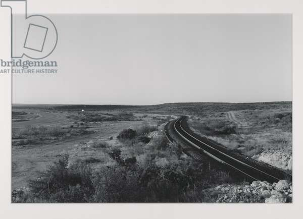 Southern Pacific Transportation Company and Amtrak's Sunset Limited, Val Verde County, Texas, negative 1989 (gelatin silver print)