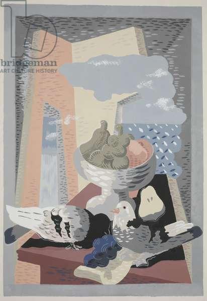 Pigeons and Grapes (Les pigeons et le raisin) 1930 (colour pochoir print)