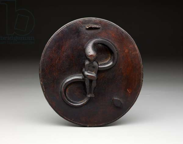 Proverb pot lid, 1900-1915 (wood)