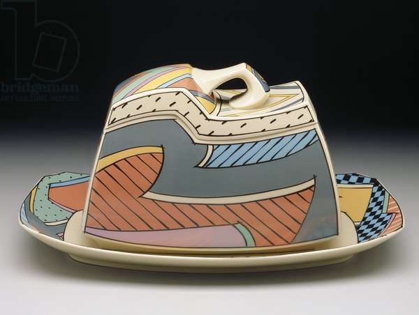 """Flash"" shape covered bowl and platter with ""Flash One"" pattern, manufactured by Rosenthal Glas und Porzellan, shape designed 1985 (earthenware, enamel)"