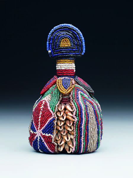 Symbol of the inner head (ibori), late 19th to early 20th century (glass beads, cowrie shells, and leather)
