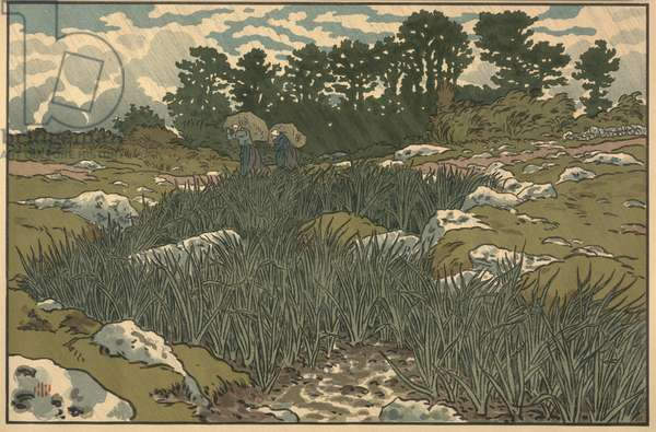 Landscape with two peasants (woodblock print)