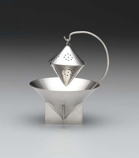 Tea ball and stand, Designed 1928 (silverplate)