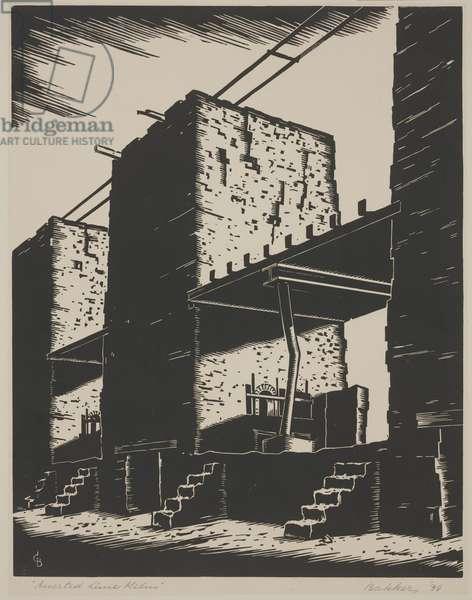 Deserted Lime Kilns, 1934 (woodcut)