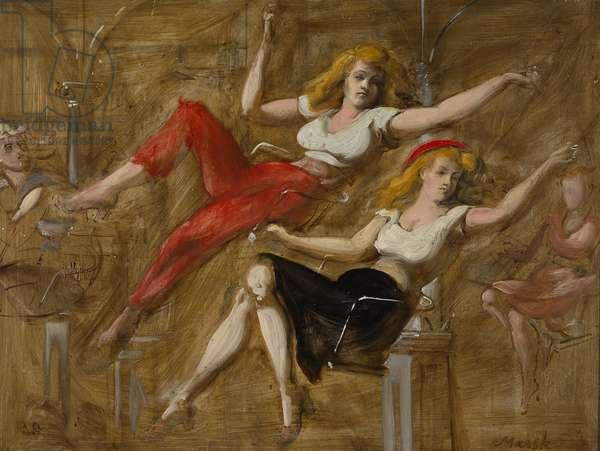 Two Girls on Swinging Chairs, c.1950 (tempera on masonite)