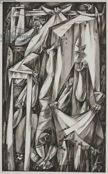Episode, 1949 (ink wash on paper)