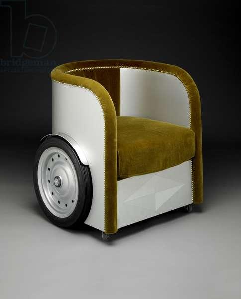 Ben-Hur armchair, designed 1992, production 2010 - present (aluminum, plywood, steel, rubber & velvet upholstery)