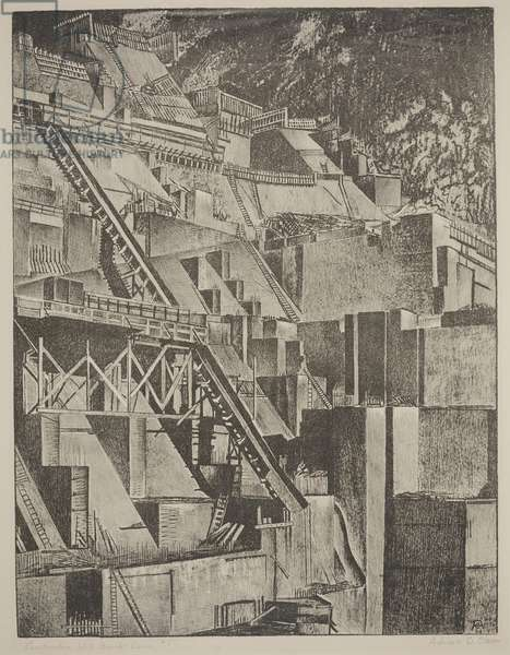 Construction Work Boulder Dam #1, 1934 (litho)