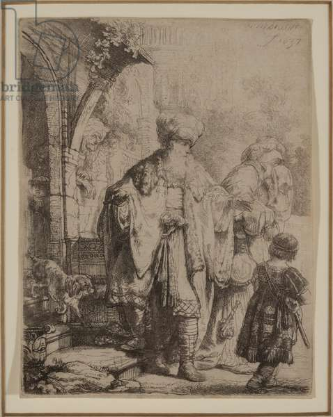 Abraham Casting Out Hagar and Ishmael, 1637 (etching & drypoint)