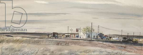 Truck Stop, c.1948 (watercolor and ink)
