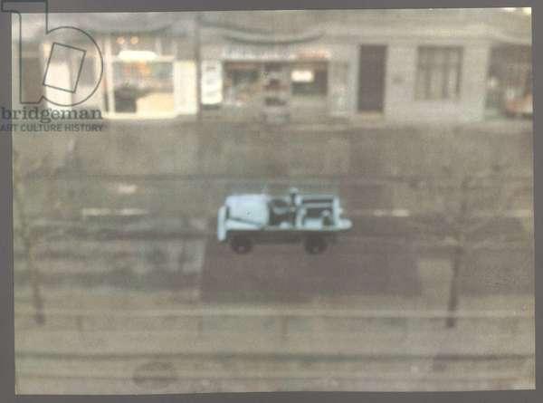 Car (Auto), 1969 (colour offset print on a dark grey ground on white lightweight cardboard)